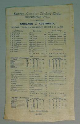 Scorecard:  England v Australia, 9-11 August 1909, Kennington Oval, Surrey C.C.C.