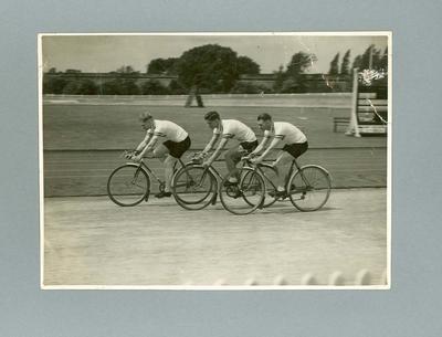 Black and white photograph of Ernie Milliken, Wally Stuart and Hubert Opperman, Herne Hill Track, London 1935
