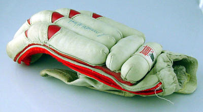 Pair of batting gloves used and autographed by Greg Matthews 26/12/85