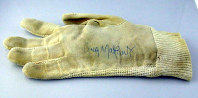 Pair of batting glove inners worn and signed by Greg Matthews 26/12/1985