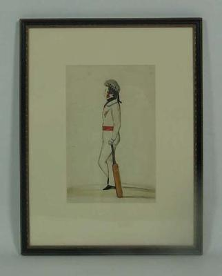 Watercolour:  Cricketer in military attire with Glengarry cap