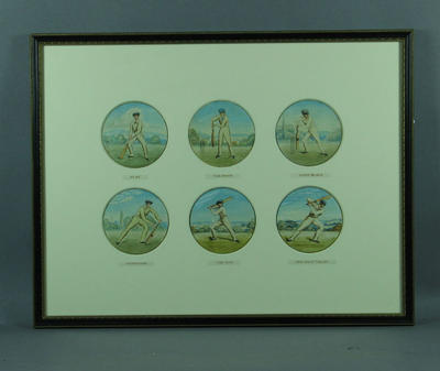 Six watercolour paintings, depicting various cricket batting positions; Artwork; Framed; M6518