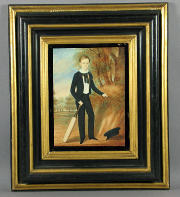 """Watercolour, """"Young boy holding a cricket bat with his cap on the ground"""""""