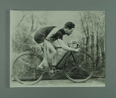 Black and white photographic copy of an original,  R L Bates, Australasian Professional Cycling Champion