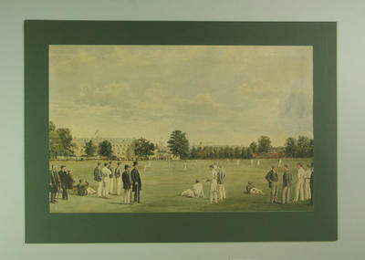 "Watercolour painting, ""Cricket at Tonbridge School c. 1890"""