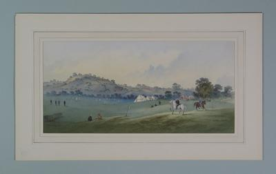 """Watercolour, """"Cricket on the Downs"""", signed by J. Richardson"""