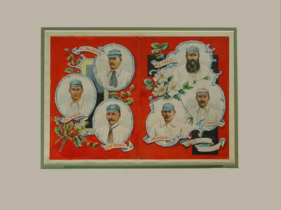Portraits of six cricketers - Messrs. Grace, MacLaren, Woods, Shrewsbury, Ranjitsinhji, Lord Harris