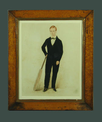 Thomas Scarborough Johnson dressed in black with his cricket bat, aged 12