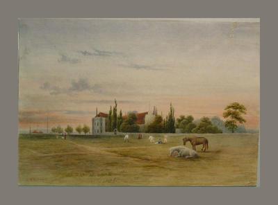 Cricket match in progress in a field - artist G.R. Gill
