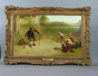 "Painting, ""A Game of Cricket - Youth and Age"" - artist Alexander Burr"