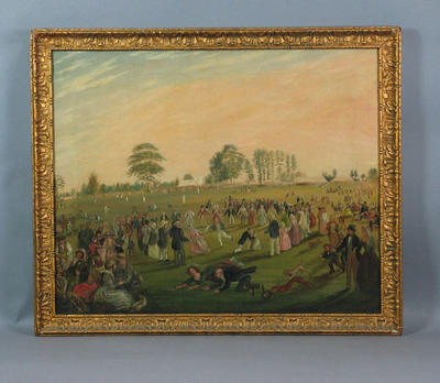 Figures in Victorian dress playing games with a cricket match in the background
