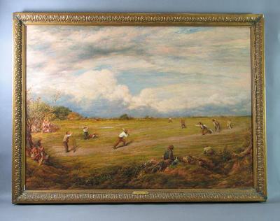 """A Cricket Match on the Heath"" - artist John Linnell 1874"