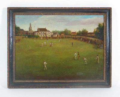 """Surrey and Kent Playing the Game of Cricket at the Oval 1839"" - artist unknown"
