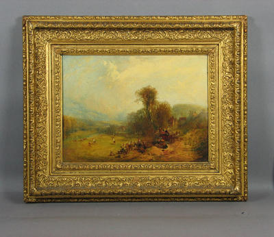 Painting, Village cricket match, rural scene c. 1850