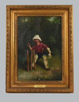 """""""How's That""""  c. 1905 - part of a series of 4 depicting a boy cricketer; Artwork; Framed; M6571.1"""