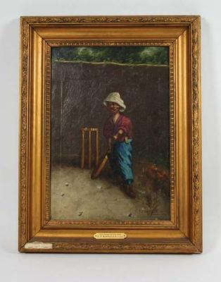 """""""The Hope of His Side"""" c. 1905 - part of a series of 4 depicting a boy cricketer; Artwork; Framed; M6571.2"""