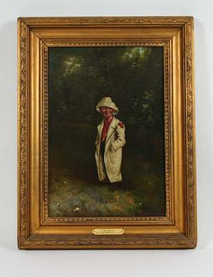 """""""The Boss"""" c. 1905 - part of a series of 4 depicting a boy cricketer; Artwork; Framed; M6571.3"""