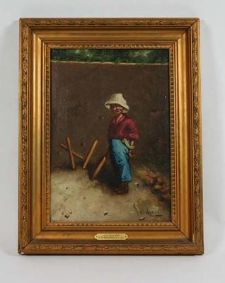 """""""Out First Ball""""  c. 1905 - part of a series of 4 depicting a boy cricketer; Artwork; Framed; M6571.4"""