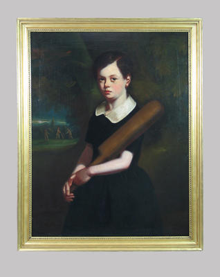 """""""Girl with a cricket bat"""" - artist unknown"""