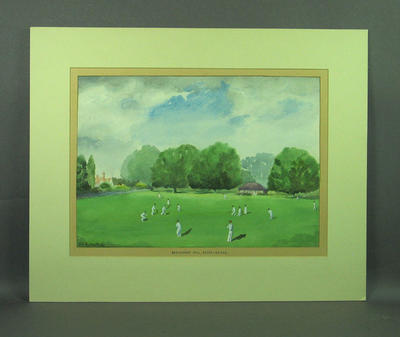 """Buckhurst Hill, Essex, 24-5-52"" - cricket match in progress"
