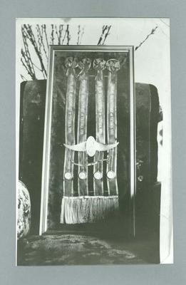 Black and white photographic copy of an original, showing sashes won by E Gibaud, Victorian Cycling Championships