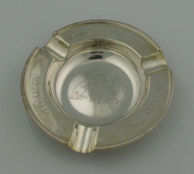 Silver plated ashtray commemorating cricket between England and Australia, 1861-1961