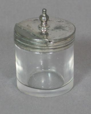 Inkwell with attached silver flip-top lid - part of W.G.Grace inkstand