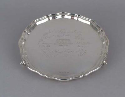 Silver tray presented to Wally Hammond by the Marylebone Cricket Club, 1938-39; Domestic items; M6620