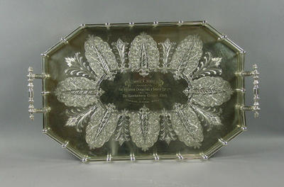 Tray:  The Boyle & Scott Cup presented by The Victorian Cricketing & Sports Co, won by Hawksburn CC Premier Juniors 1894-5