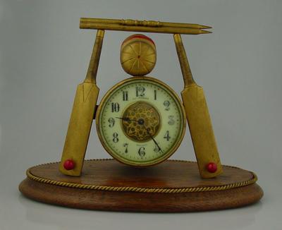 Clock - cricket design - made by R. & T. Johnson, Darlington, England