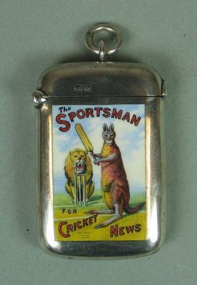 Vesta lighter case,  presented to A.A. Lilley by 'The Sportsman' proprietors, 1899