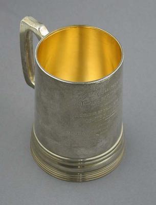 Tankard presented by F.T. Sargood to J. McC. Blackham 1880, commemorating Australian cricket team visit to England