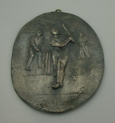 Plaque - depicts cricket match in progress