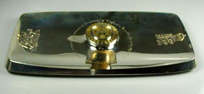 Salver presented to MCC by Marylebone CC March 1977;  The Centenary of England v Australia 1877-1977, designed by Alex Styles