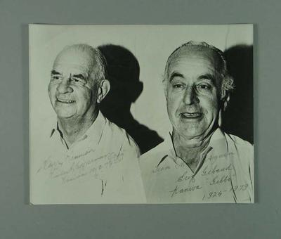 Black and white copy photograph, depicting Eric Gibaud and Hubert Opperman - 1979