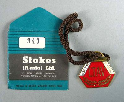 Lawn Tennis Association of Victoria membership medallion & envelope, 1976-77