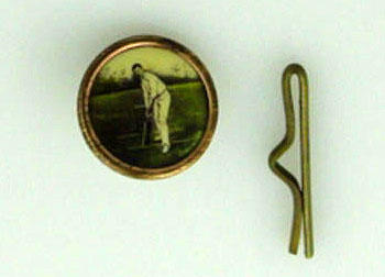 Button and keeper, part of a set of 6, image of batsman
