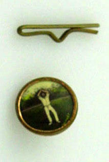 Button and keeper, part of a set of 6, image of cricketer hands above head