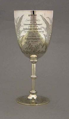 Goblet presented to F E Allan by Duke of Manchester, 23 July 1878