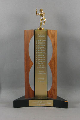 Trophy won by Melbourne Cricket Club Baseball Section, Victorian Baseball Association - A Grade Premiers, 1969