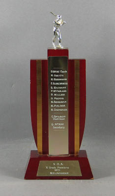 Trophy won by Melbourne Cricket Club Baseball Section, Victorian Baseball Association - A Grade Premiers, 1971