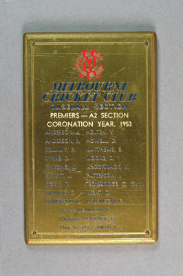 Plaque, Melbourne Cricket Club Baseball Section - Premiers, A2 Section, Coronation Year 1953