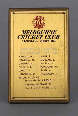Plaque, Melbourne Cricket Club Baseball Section - Premiers, A1 Section, Coronation Year 1953
