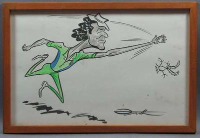 Original cartoon of cricketer Imran Khan by artist John Frith; Artwork; Framed; M6307