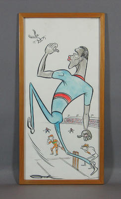 Original cartoon of cricketer Joel Garner  by artist John Frith