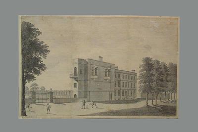 Engraving, depicts building - possibly Mr Elphingstone's School in Kensington c1796