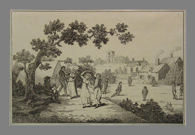 """Engraving for sheet music cover, """"The Village Rondo"""" c. 1815; Artwork; M6338"""