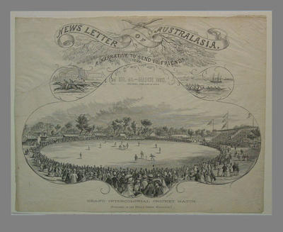 "Engraving, ""News Letter of Australasia, No. 43 - March 1860""  publisher Herald Office, Melbourne"
