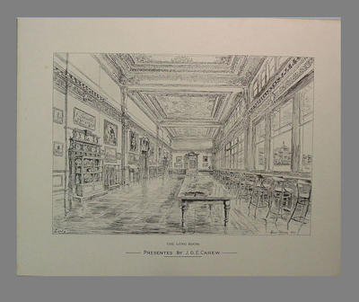 Print -  'The Long Room', Lord's, artist Hanslip Fletcher 1949
