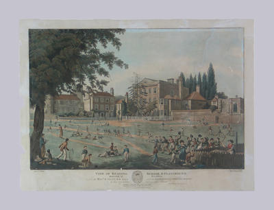 """""""View of Reading School & Playground"""" - published by E. Havell, October 1816"""